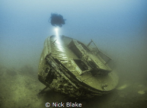 HMS Podsnap viewed from the stern, Capernwray, UK by Nick Blake