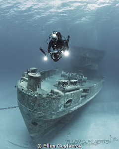 Cinematographer at work at the Ex-USS Kittiwake by Ellen Cuylaerts