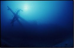Chaouen ship sunk and still waving the mast in her slow a... by Jean-claude Zaveroni
