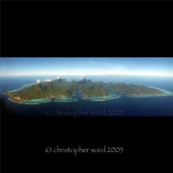 Moorea, French Polynesia. Panoramic of Moorea from the ai... by Christopher Ward
