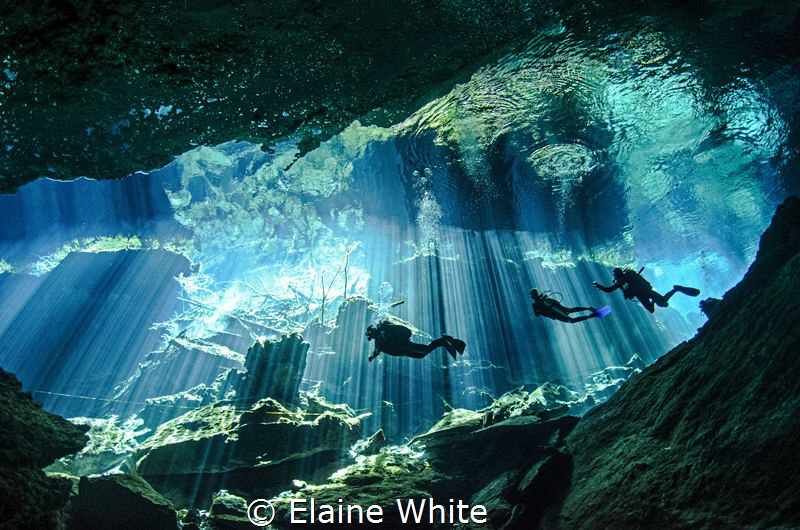 Divers enjoying the spectacular natural lighting display in Kukulkan