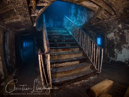 The famous staircase on the Karwela Ferry wreck in Gozo.