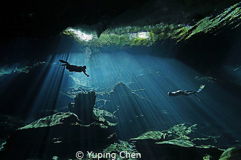 Diving In the Light/ Cenote diving, Tulum, Mexico. Canon 5D MarkIII, 16-35mm, F,1/125,ISO1000.