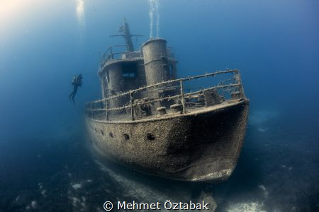 Pinar 1 wreck  and diver( horizontal ) - Bodrum / Turkey