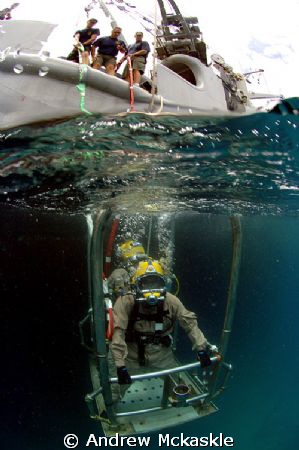 US Navy Divers going to the office.