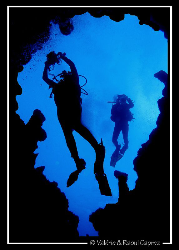 A couple of photographers met in Dahab swimming out of the canyon.