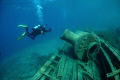 U/W Photographer hovers over wreck of the steam tug, 'Alice G', Tobermory, Ontario