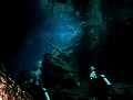 The last bit of light as divers enter the Cenote.....