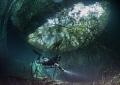A diver explores Ponderosa Cenote, Mexico.