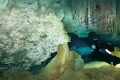 sidemount diving thorugh the cave system of Dos Ojos , Mexico