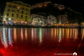 Marina Grande of Sorrento, split shot with a tripod and a red light