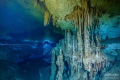 Double layer with double color  fresh water above  salt water below. Shot taken into the Jail House cave  also known as Remote Muknal Siphon   Mexico