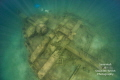 A free diver explores the stern of the Joseph S. Fay shipwreck in Lake Huron, Michigan.