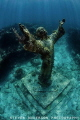 The Christ Statue which is sunk and placed in the middle of the reef at Dry Rocks in John Pennekamp State Park.