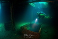 Exploring the inside of the wreck Fang Ming  La Paz  Mexico. Model  Liane Buelens.