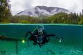 Diver at the Samaranger lake, Austria.