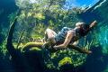 Kicking back in Cenote Jardin Del Eden