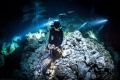 Freediver in Cenote Tajma-ha