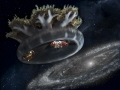 Jelly Cassiopea andromeda traveling to Galaxy Andromeda