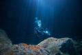 Diver in Urseling Cave / São Jorge / Azores