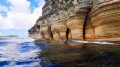"""Pillars of Hercules"" Limestone pillars carved by wind and waves over millennia"
