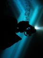 Cave Diver in Poço Azul - chapada Diamantina Brazil.