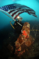 US NAVY DIVER WAVES AMERICAN FLAG OVER A WORLD WAR 2 AERIAL CRASH SITE DURING AN UNDERWATER RECOVERY MISSION TO LOCATE MISSING VETERANS THROUGHOUT MICRONESIA.