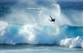 ...free fall,,windsurfer at hookipa beach,maui,hawaii
