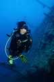 My wife Teresa at the Carnatic wreck. Shot using Canon EOS 300D in Nimar housing, Canon EF-S 18-55mm, Ikelite 100a and Nikonos SB-105 strobes.