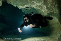 Cave Diver.   Technical Diving. Cave diving in Jackson Blue, Florida.   ©Amanda Cotton