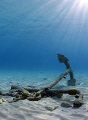 The anchor just in front of Calabas Reef in Bonaire. Great vis and calm water - the anchor found a good place to stay. Shot with a Canon 30D in an Ikelite housing and Sigma 15/2.8 fisheye.