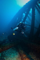 Kim diving the Key Biscayne Oil Rig Wreck on his KISS Rebreather.  40m deep.  Canon 20D, Tokina 10-17 6