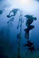 Divers ascending after exploring the stavronikita (shipwreck). A 365ft Greek freighter lying in 130ft of water off the coast of Bridgetown, Barbados.