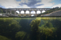Pont du Gard - Gard River France.  The ancient roman bridge on the Gard river