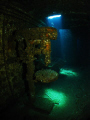Tool Room and Lathe of the Chrisoula K wreck. Canon Ixus, Inon Fiesheye, Inon D2000 strobe.