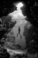 Record Italian freediver Linda Paganelli, ascending in front of a cave in the Ras Mohammed National Park. Shot while Freediving (one breath).