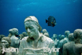 Taken on the underwater Museum in Cancun. Grey angel behind the Silent Evolution. 10-20 wide angle.