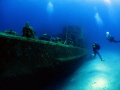 Divers approaching the wreck of the P31 off Comino Island
