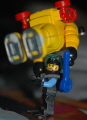 Lego diver prepares Playmobil diver for deep descent.