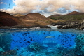 Ascension Island.  A composite image that remains true to what Ascension looks like, both above and below water.