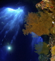Big cave, coral, gorgonian, bubbles, light and divers....a magic underwater world.