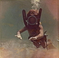 Historical photo 1964: Myself diving when I was 7 years old. The photo was taken by my father with a Nenrod Syluro Underwater Camera in Tabarca, Spain