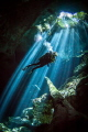 Cenote light. A great add on to an Isle Mujeres Whaleshark trip are the Cenotes. Since no strobes are allowed with the Whalesharks I left them home and shot natural light in the Cenotes with a high ISO (1600) and a fast wide lens.